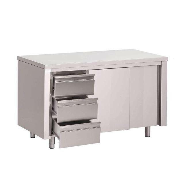 Gastro M RVS werktafel gesloten 3 laden en schuifdeuren 85(h) x 150(b) x 70(d)cm