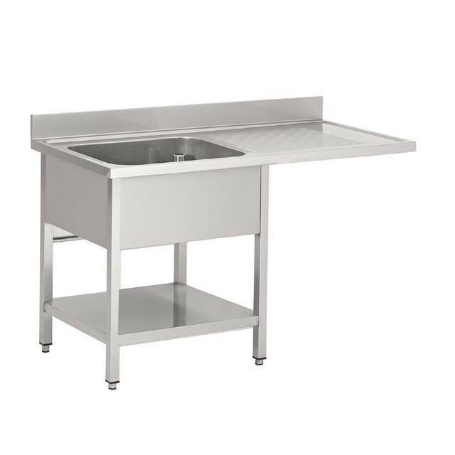 Gastro M RVS spoeltafel met ruimte voor vaatwasmachine 85(h) x 120(b) x 70(d) cm 1 spoelbak links