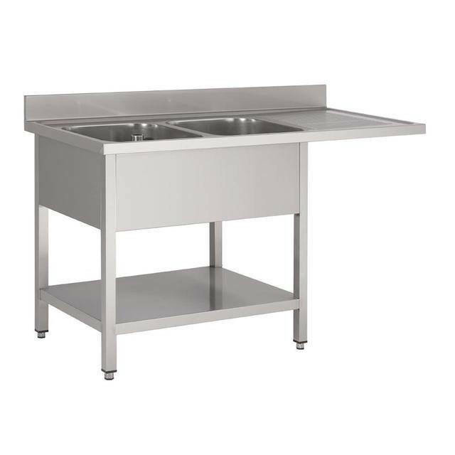 Gastro M RVS spoeltafel met ruimte voor vaatwasmachine 85(h) x 160(b) x 70(d) cm 2 spoelbakken links