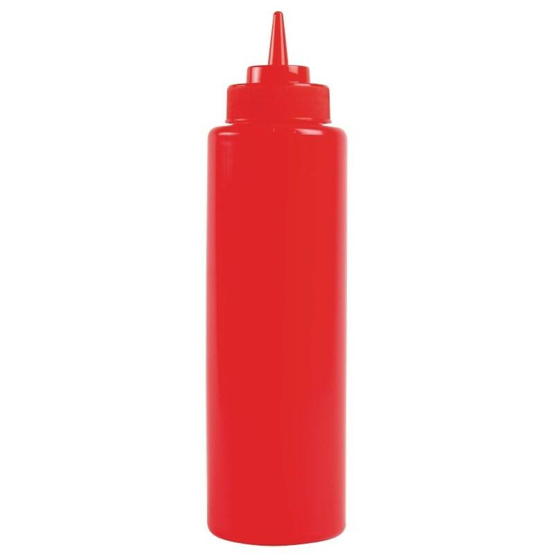 knijpfles 34 cl rood Ø 5,8 cm hoog 20 cm