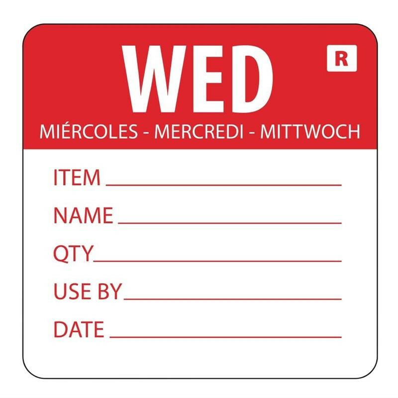 HACCP afneembare sticker Wednesday 50 x 60 mm DOOS 500