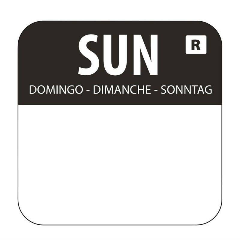 HACCP afneembare sticker Sunday 24 x 24 mm DOOS 1000