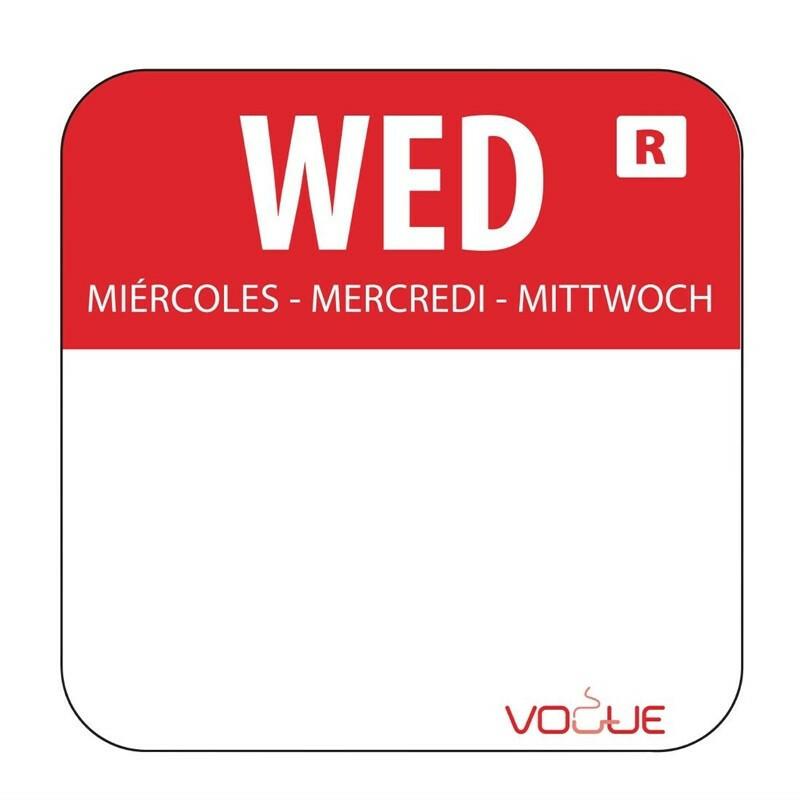 HACCP afneembare sticker Wednesday 24 x 24 mm DOOS 1000