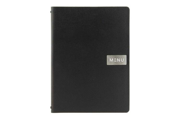 Securit menumap Raw A4 zwart leer 24,6 x 33,2(h) cm
