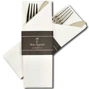 "bestekservet Napkin Sleeve ""bon appetit"" DOOS 300"