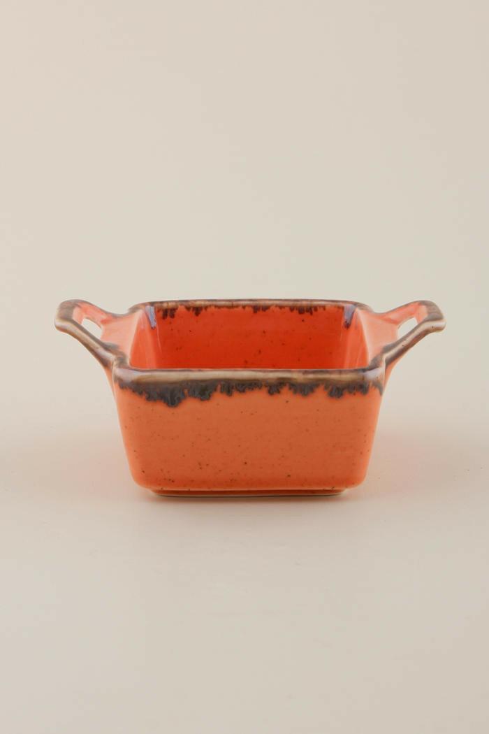 Porland Seasons Orange mezze schaaltje vierkant met oren 10 cm