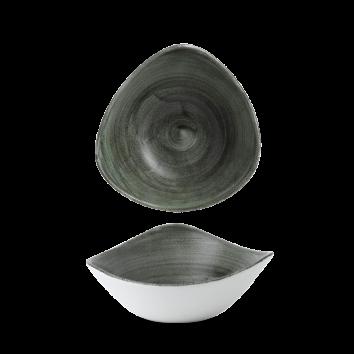 Stonecast Patina Burnished Green triangle bowl 18,5 cm