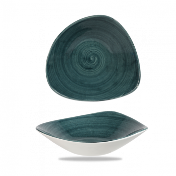 Stonecast Patina Rustic Teal triangle bowl 23,5 cm