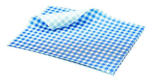 vetvrij papier blauw geblokt 25 x 20 cm DOOS 1000