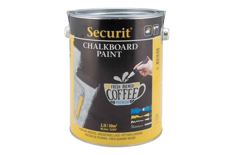 Securit krijtbordverf groot 2,5 liter zwart