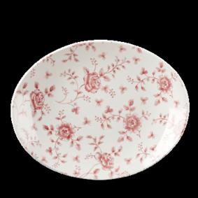 Churchill Vintage Cranberry Rose Chintz Oval Plate 31.7 cm