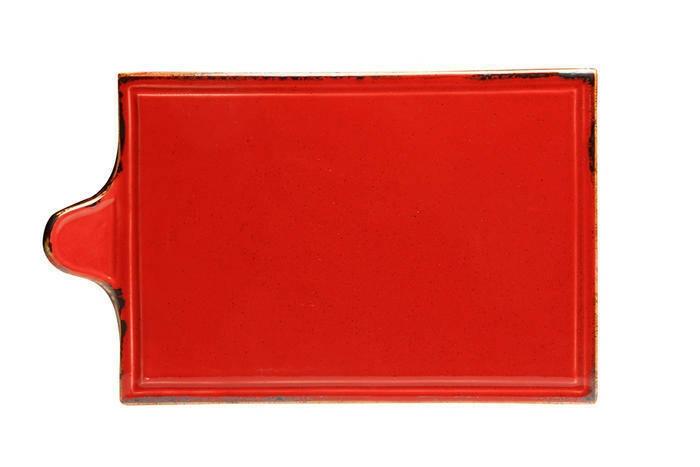 Porland Seasons Red oblong bord met greep 34 x 21 cm