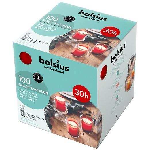Bolsius ReLight Refill Plus rood 30 uur DOOS 100