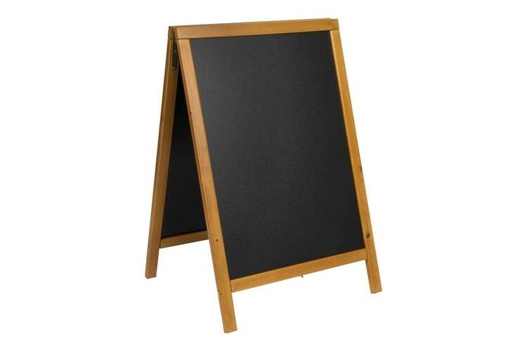 Securit stoepkrijtbord Woody klein teak 54,5 x 44 x 85(h) cm