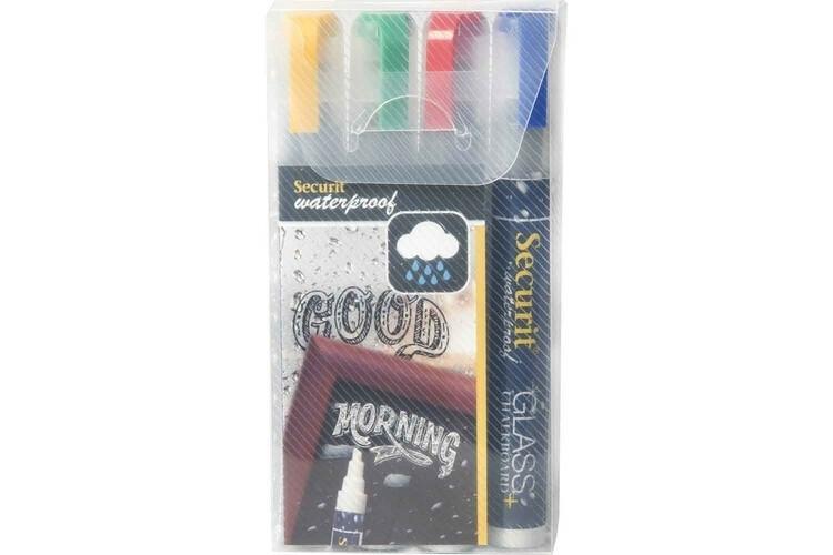Securit krijtstiften kleur 2-6 mm voor glas en krijtborden DOOS 4