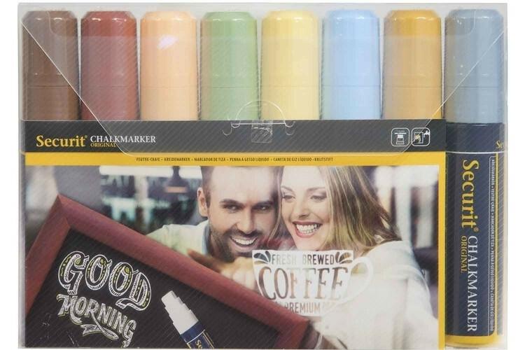 Securit krijtstiften aardse kleuren 7-15 mm DOOS 8