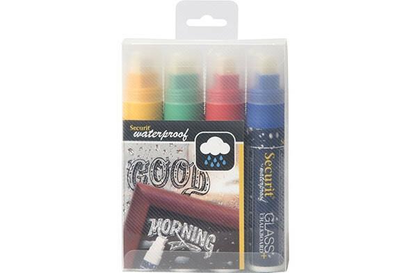 Securit krijtstiften waterproof mix kleur 7-15 mm  DOOS 4