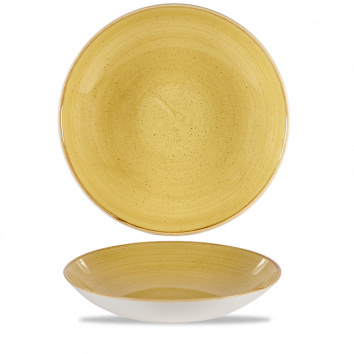 Stonecast Mustard Seed Yellow coupe bowl 31 cm