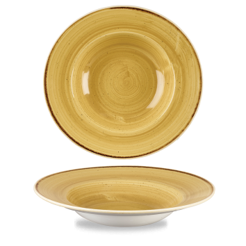 Stonecast Mustard Seed Yellow bord diep brede rand 28 cm