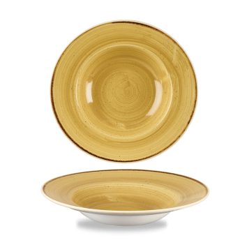 Stonecast Mustard Seed Yellow bord diep brede rand 24 cm