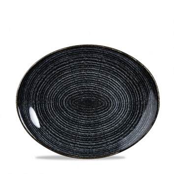 Studio Prints Charcoal Black ovaal coupe bord 27 cm