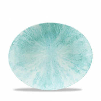Studio Prints Raku Stone Aquamarine ovaal coupe bord 27 cm