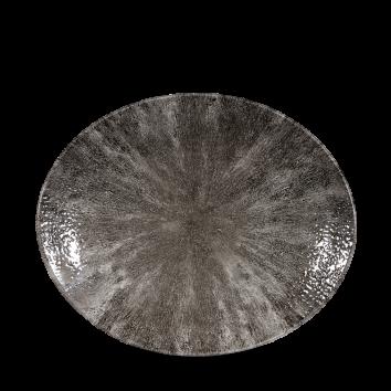 Studio Prints Raku Stone Quartz Black ovaal coupe bord 27 cm