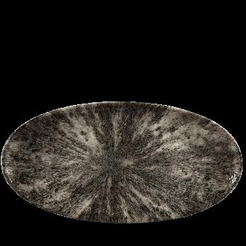 Studio Prints Raku Stone Quartz Black chef`s ovaal bord 34,7 cm