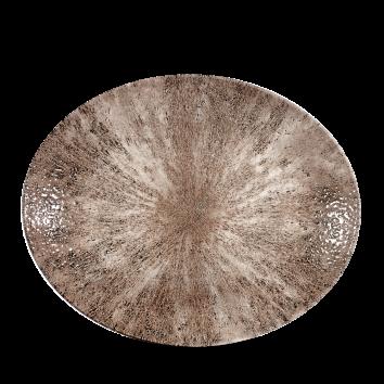 Studio Prints Raku Stone Zircon Brown ovaal coupe bord 31,7 cm