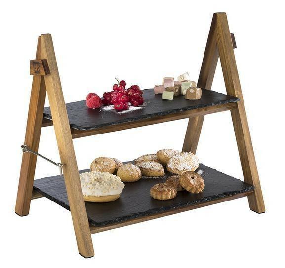 buffet display 3-delig acacia schraag incl. 1/3 GN en 1/2 GN Slate plateau