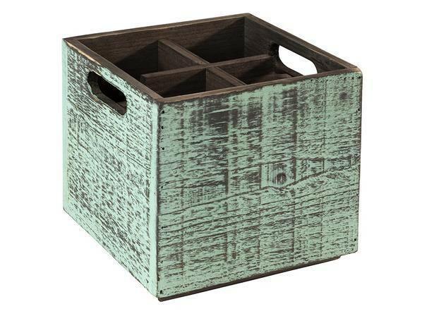 tafelcaddy Vintage 4-vaks turquoise 17 x 17 x 16(h) cm