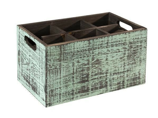 tafelcaddy Vintage 6-vaks turquoise 27 x 17 x 16(h) cm