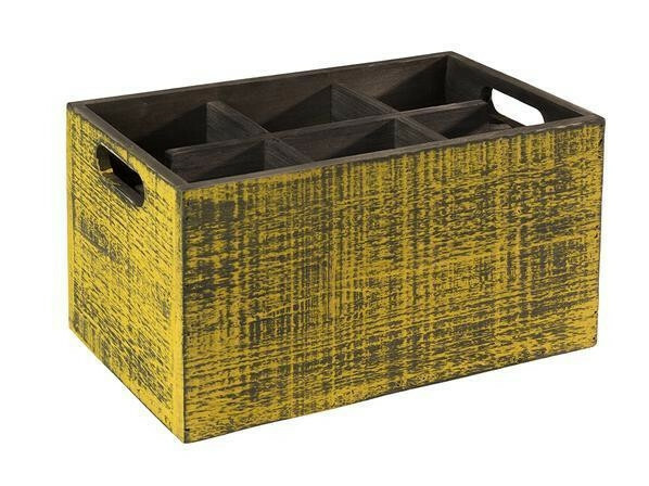 tafelcaddy Vintage 6-vaks geel 27 x 17 x 16(h) cm