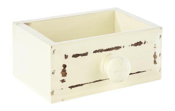 tafelcaddy Vintage wit schuifla 11,5 x 7,5 x 5(h) cm