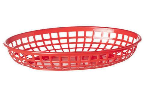 fastfood mandje ovaal 23 x 14 x 4(h) cm rood DOOS 6