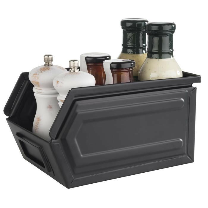snackbox Industrial zwart metaal 23 x 15,5 x 13(h) cm