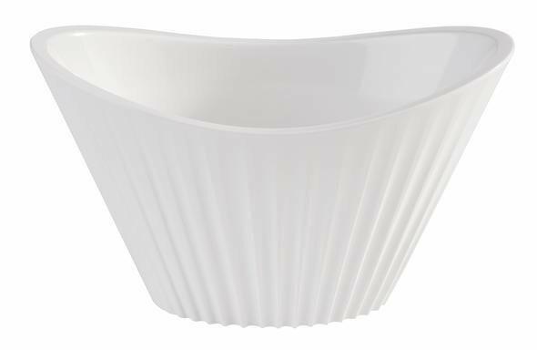 APS melamine Mini bowl ribbel 9,5 x 5,5 x 5,5(h) wit