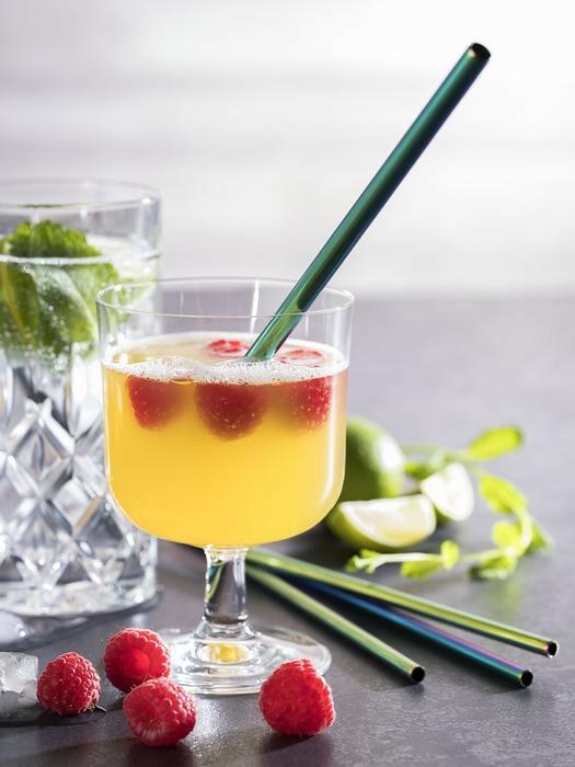 cocktail rietjes edelstaal rainbow Ø 0,8 x 21,5 cm DOOS 11