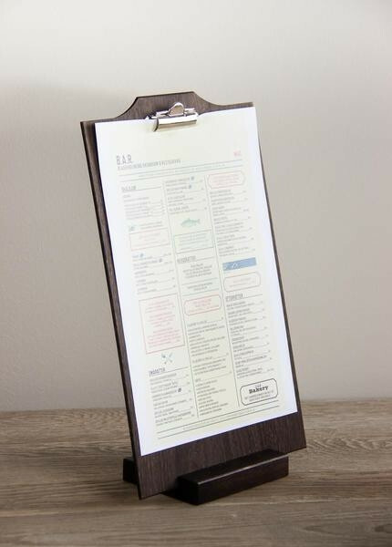 Black menu holder 12,5 x 10 x 2(h) cm