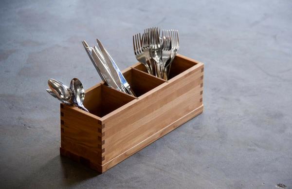 Oak linoil cutlery box 3 - vaks 36,5 x 12,5 x 13(h) cm