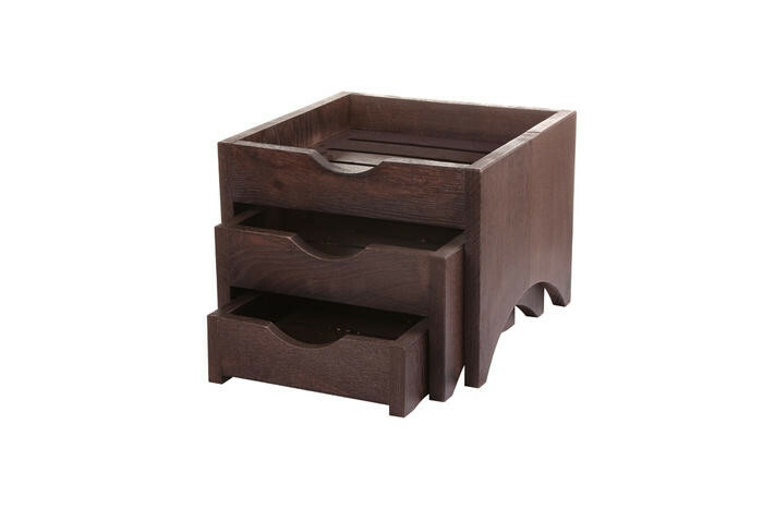 Black mini 3 tray display stand 28,5 x 28 x 22(h) cm