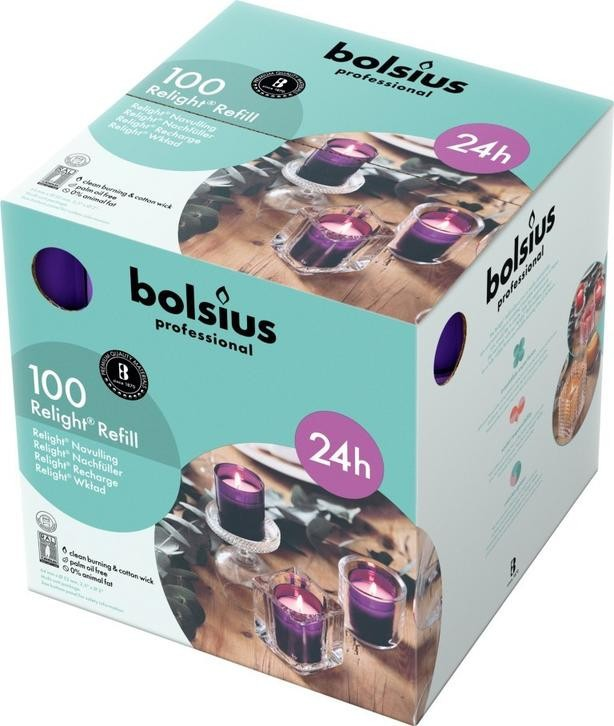 Bolsius ReLight Refill paars 24 uur DOOS 100