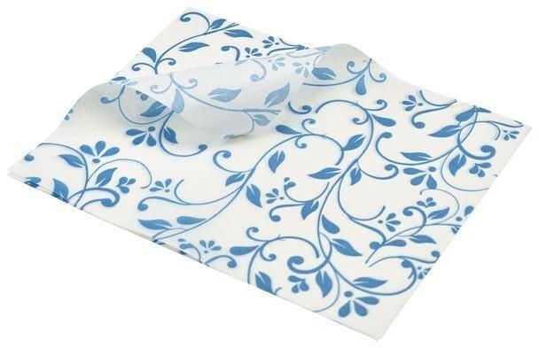 vetvrij papier bloem motief blauw 25 x 20 cm DOOS 1000