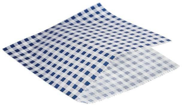 vetvrij papier blauw geblokt puntzak 17,5 x 17,5 cm DOOS 1000