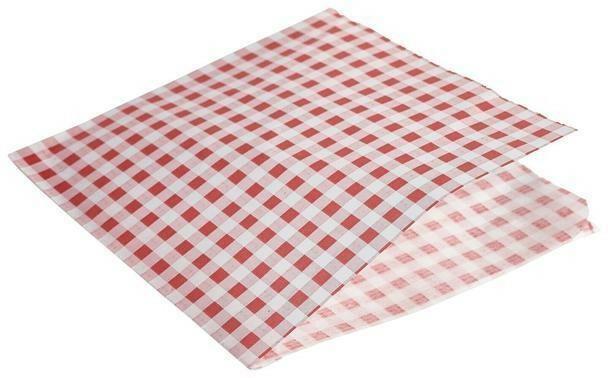 vetvrij papier rood geblokt puntzak 17,5 x 17,5 cm DOOS 1000