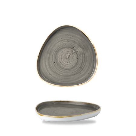 Stonecast Peppercorn Grey chef`s triangle walled plate 21 cm