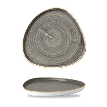Stonecast Peppercorn Grey chef`s triangle walled plate 26 cm