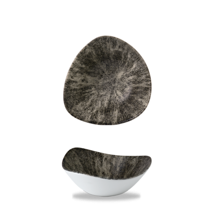Studio Prints Raku Stone Quartz Black triangle bowl 18,5 cm