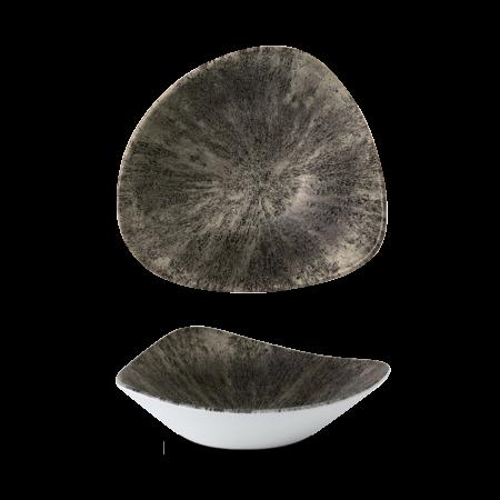 Studio Prints Raku Stone Quartz Black triangle bowl 23,5 cm