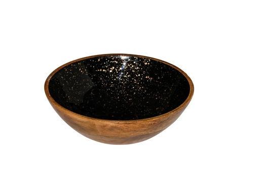 buffetschaal hout Essentials zwart met goud binnenzijde Ø 25 x 7,5(h) cm
